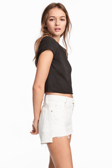 Cropped T-shirt - Black - Ladies | H&M CN 1