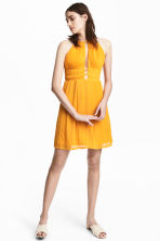 Pleated halterneck dress - Orange - Ladies | H&M CN 1