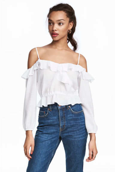 Off-the-shoulderblouse - Wit - DAMES | H&M NL 1