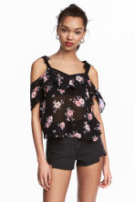 Chiffon top - Black/Floral - Ladies | H&M CN 1