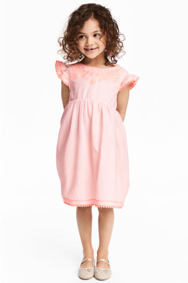 Dress with butterfly sleeves - Light pink -  | H&M 1