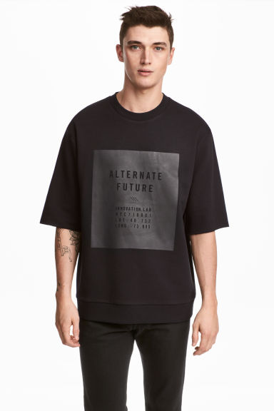 Short-sleeved sweatshirt - Black - Men | H&M CN 1