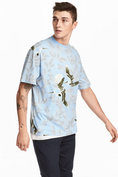 Patterned T-shirt - Light blue/Birds - Men | H&M 1