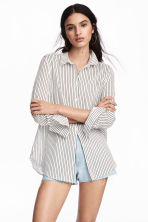 棉质衬衫 - White/Black striped - Ladies | H&M CN 1