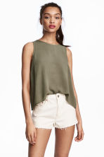 褶縐上衣 - Khaki green - Ladies | H&M 1
