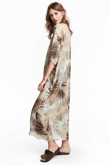 Patterned kaftan - Natural white/Leaf - Ladies | H&M CN