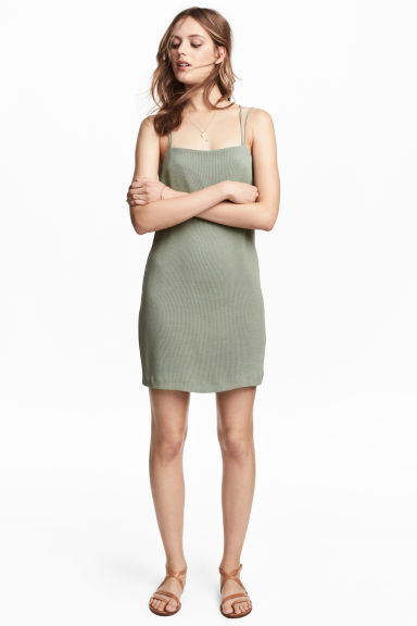 Textured-weave dress - Dusky green - Ladies | H&M