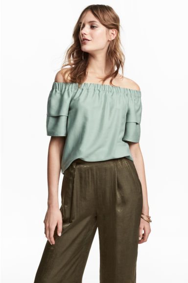 Off-the-shoulder blouse - Mint green - Ladies | H&M 1