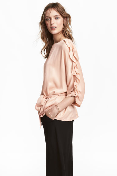 Satin blouse with tie belt - Powder - Ladies | H&M