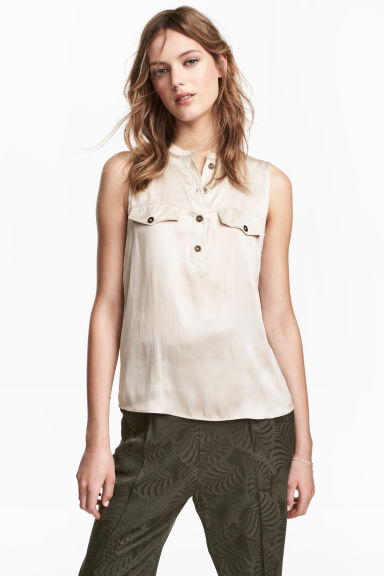 Sleeveless satin top - Light beige - Ladies | H&M CN 1
