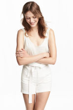 High-waisted twill shorts - White - Ladies | H&M CN 1