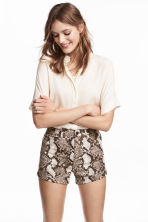 High-waisted twill shorts - Snakeskin print - Ladies | H&M 1