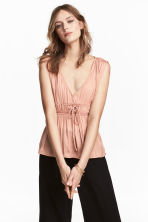 V-neck satin top - Powder pink - Ladies | H&M CA 1