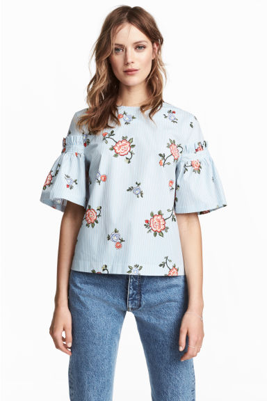 Flounce-sleeved blouse - Light blue/Floral -  | H&M CN 1