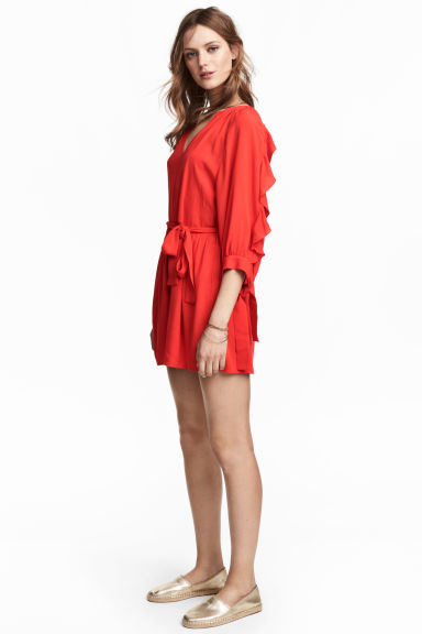 Playsuit with balloon sleeves - Red -  | H&M