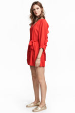 Playsuit with balloon sleeves - Red -  | H&M 1
