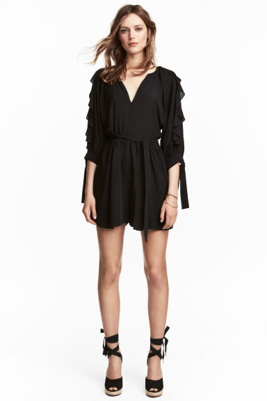 Playsuit with balloon sleeves - Black - Ladies | H&M CN 1