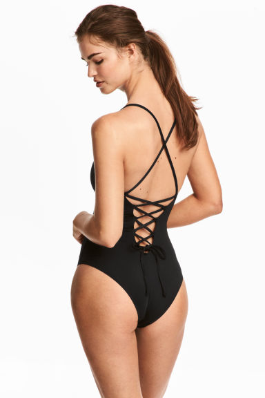 Swimsuit with lacing - Black - Ladies | H&M CN 1
