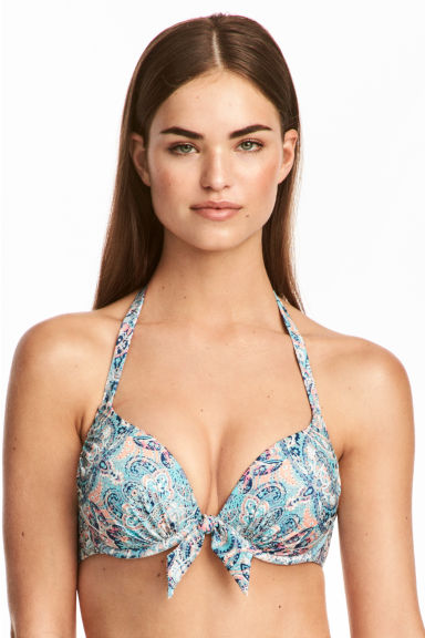 Super push-up bikini top - Turquoise/Paisley - Ladies | H&M