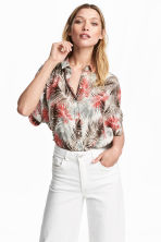Blouse with dolman sleeves - Natural white/Leaf  - Ladies | H&M CA 1