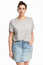 H&M+ Embroidered jersey top - Grey/Flamingo -  | H&M 1