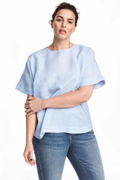 H&M+ Linen top - Light blue marl - Ladies | H&M