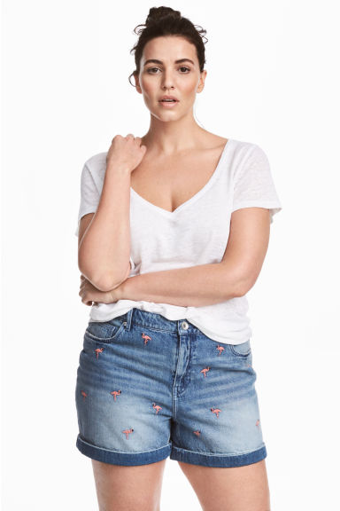 H&M+ Embroidered denim shorts - Light denim blue - Ladies | H&M 1