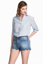 Linen shirt - Blue/Striped - Ladies | H&M CN 1