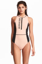 Swimsuit with a zip - Powder/Black - Ladies | H&M 1