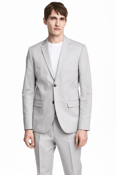 Linen-blend jacket Slim fit - Light grey - Men | H&M