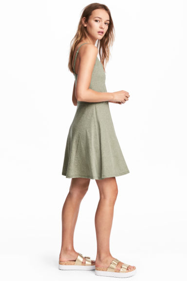 Short jersey dress - Khaki green marl -  | H&M