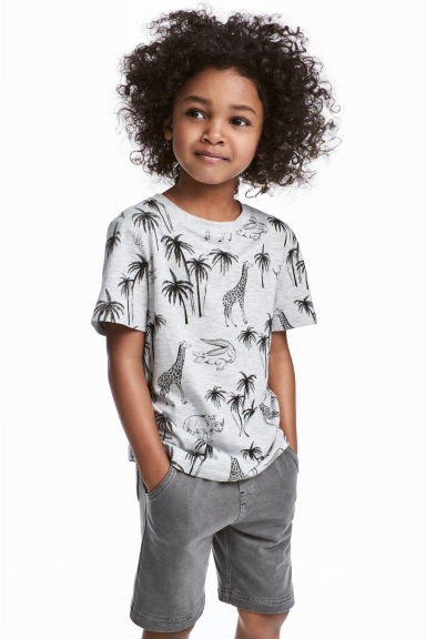 Printed T-shirt - Light grey/Palms -  | H&M 1