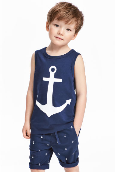 Vest top with a print motif - Dark blue/Anchor - Kids | H&M