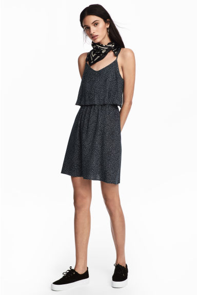 Short dress - Dark blue/Spotted - Ladies | H&M CN 1