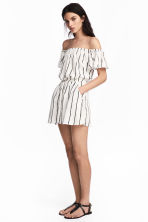 Off-the-shoulder playsuit - Natural white/Striped -  | H&M 1