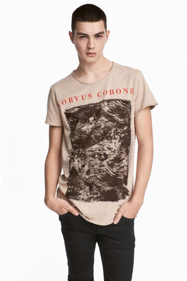 T-shirt with a print - Beige - Men | H&M 1