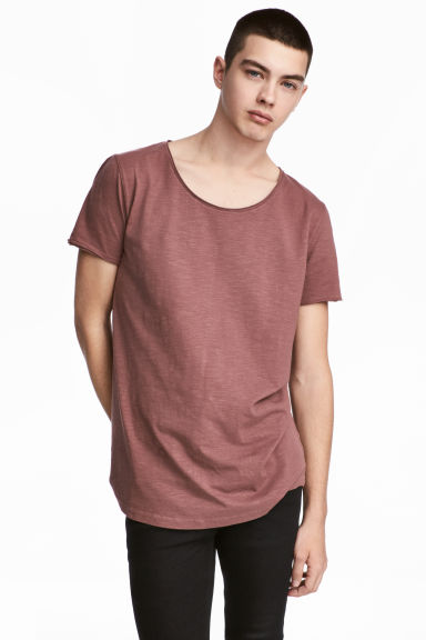 Raw-edge T-shirt - Pale red - Men | H&M 1