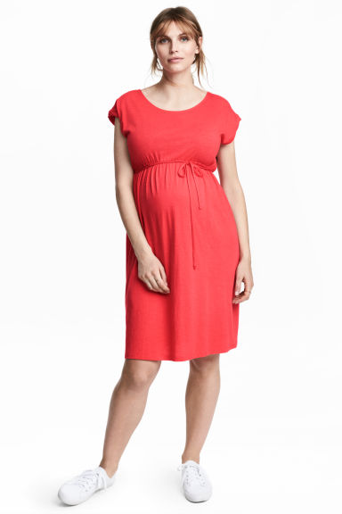 MAMA Jersey dress - Coral red - Ladies | H&M CN 1