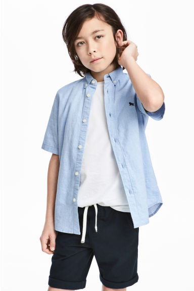 Short-sleeved cotton shirt - Light blue - Kids | H&M 1
