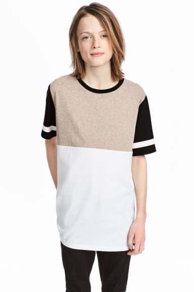 Block-coloured T-shirt - Beige/White - Kids | H&M 1
