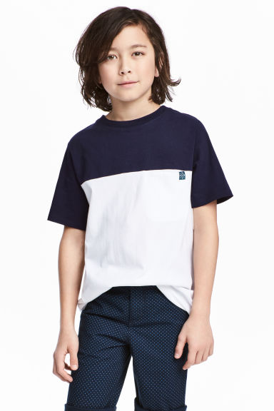 拼色T恤 - Dark blue/White -  | H&M 1