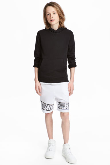 Printed sweatshirt shorts - White -  | H&M 1
