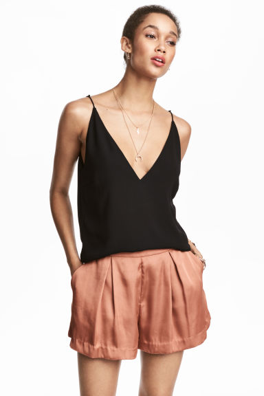 Satin shorts - Rust - Ladies | H&M 1
