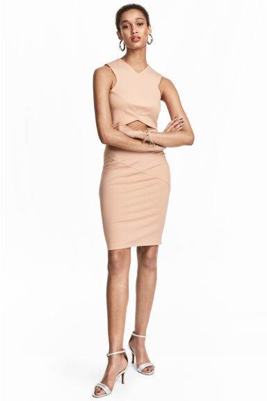 Jersey pencil skirt - Powder beige -  | H&M 1