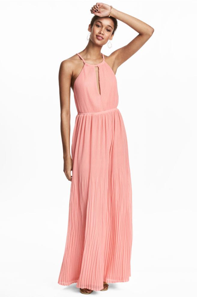 Vestido plisado largo - Rosa claro - MUJER | H&M ES