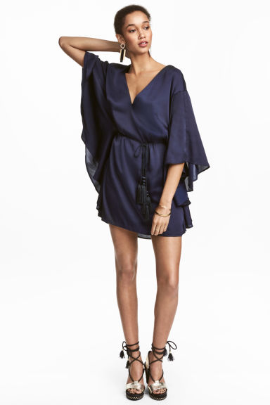 Satin dress - Dark blue -  | H&M 1