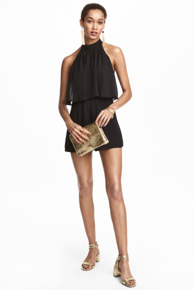 Halterneck playsuit - Black - Ladies | H&M CN 1
