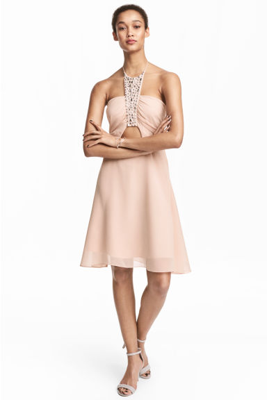 Short halterneck dress - Powder pink - Ladies | H&M