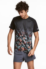 Short-sleeved running top - Black/Floral - Men | H&M CN 1