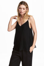 Pleated chiffon strappy top - Black - Ladies | H&M CA 1